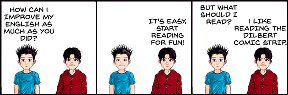 Comic book style characters (but not Dilbert) talking about reading to improve English