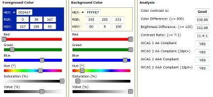 Example of the SBF Color Contrast Checker's display
